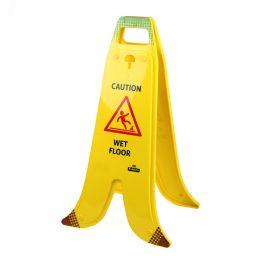 Indicator pliabil în formă de banană cu cadru în formă de A pentru podele umede