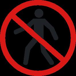 """Pictogramă de podea antiderapantă: """"Interzis accesul pietonilor"""""""