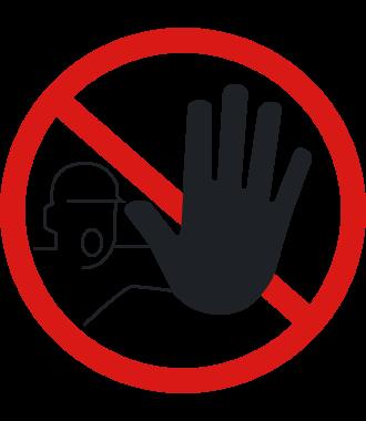"""Pictogramă de podea antiderapantă: """"Interzis accesul persoanelor neautorizate"""""""