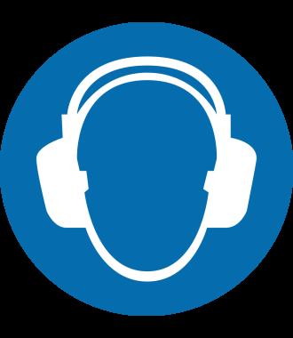 """Pictogramă de podea antiderapantă: """"Protecție a urechilor obligatorie"""""""