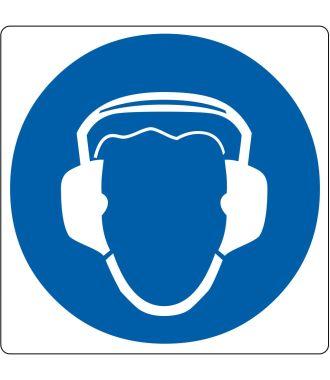 """Pictogramă de podea pentru """"Protecție a urechilor obligatorie"""""""