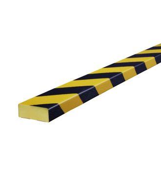 Bară de protecție Knuffi pentru suprafețe plane, tip D – galben/negru – 5 metru