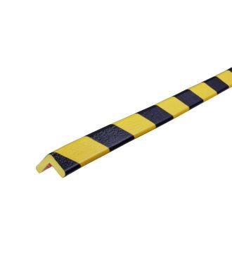 Bară de protecție pentru colțuri Knuffi, tip E – galben/negru – 5 metru