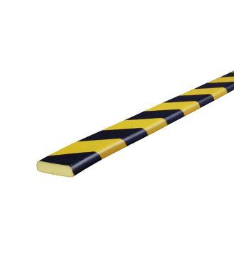 Bară de protecție Knuffi pentru suprafețe plane, tip F – galben/negru – 5 metru