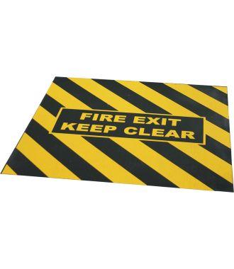 """Bandă de avertizare """"FIRE EXIT KEEP CLEAR"""" pentru ieșiri de urgență"""