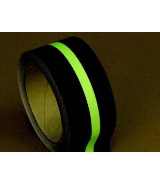 Bandă antiderapantă (neagră) cu dungă fotoluminescentă