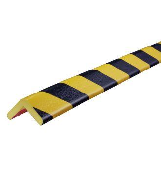 Bară de protecție pentru colțuri Knuffi, tip H – galben/negru – 5 metru